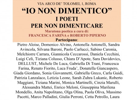 Io non dimentico, al Centro 'Il Pitigliani' i poeti per non dimenticare