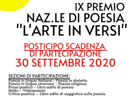 """Pubblicato il bando del IX Premio di Poesia """"L'arte in versi"""". Scadenza al 30 settembre 2020"""